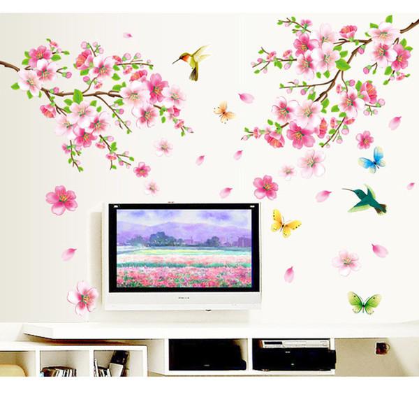 1 PZ 60x90 cm Grandi Dimensioni Cherry Blossom fiore Adesivi Murali Impermeabile soggiorno camera da letto Stickers murali Decori Murales poster