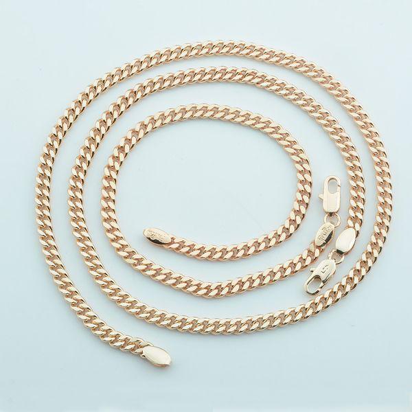 1 Set 4mmMen Women 585 Rose Gold Color Set Jewelry Classic Curb Cool Bracelet Necklace Chains