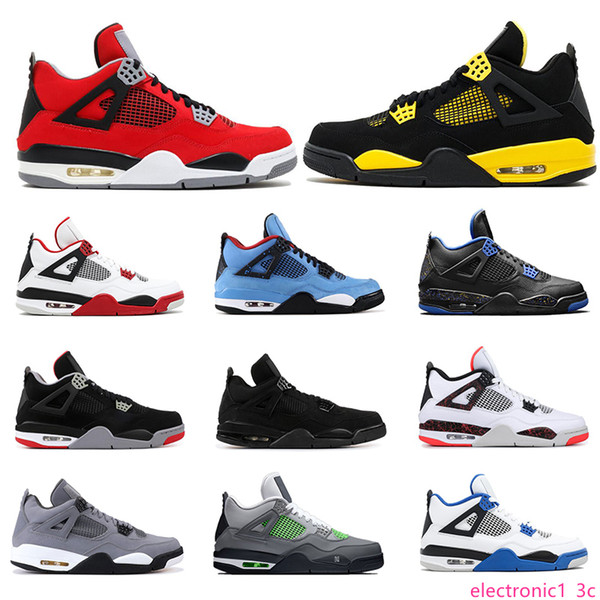 new basketball shoes 4s for mens mushroom cactus jack tattoo bred fire red thunder neon alternate cool grey mens sports sneakers size 7-13, Black;green
