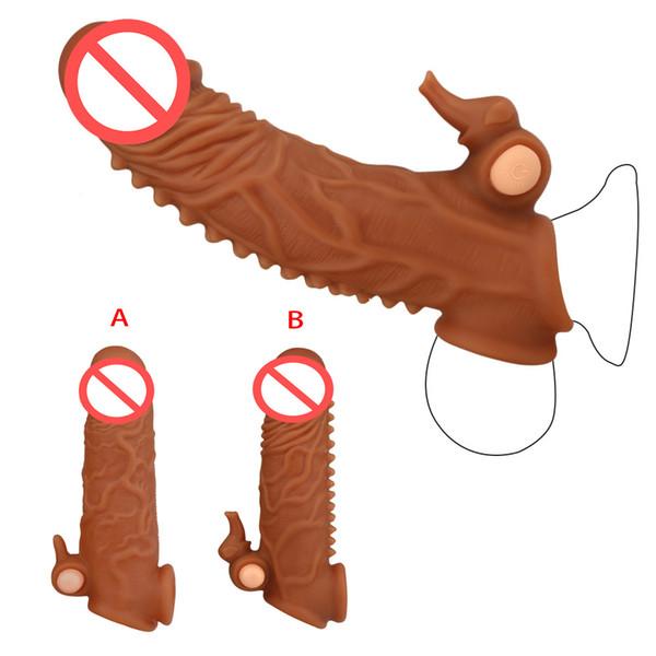 2 Стиль Вибрационный Penis Sleeve Реалистический Пенис Extender рукавом 35 Твердые Glans с Эластичный Болл Loop вибрационный пуля секс-игрушки для мужчин