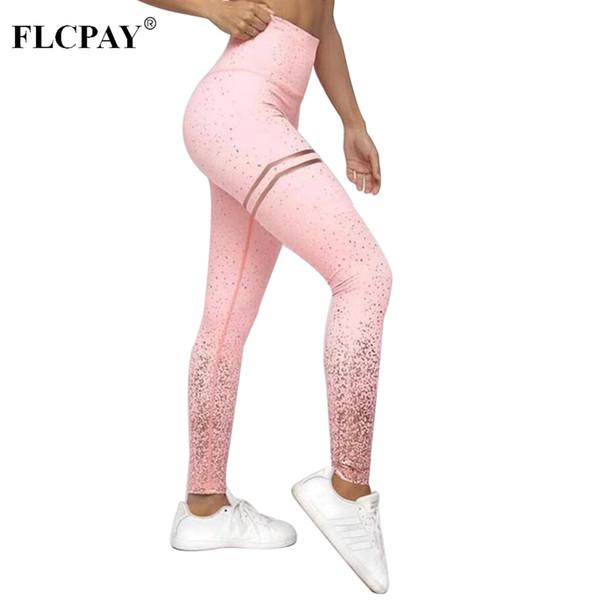Femmes Fitness Leggings Sexy Or Rose Imprimé Pantalons De Yoga Slim Sports Collants De Fitness Fitness Push Up Femme Gym Athlétique Leggins D'entraînement # 680594