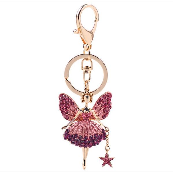 мода кристалл брелок с ангелом кирин цветок брелки кулон брелок ювелирные изделия модель нет. NE950