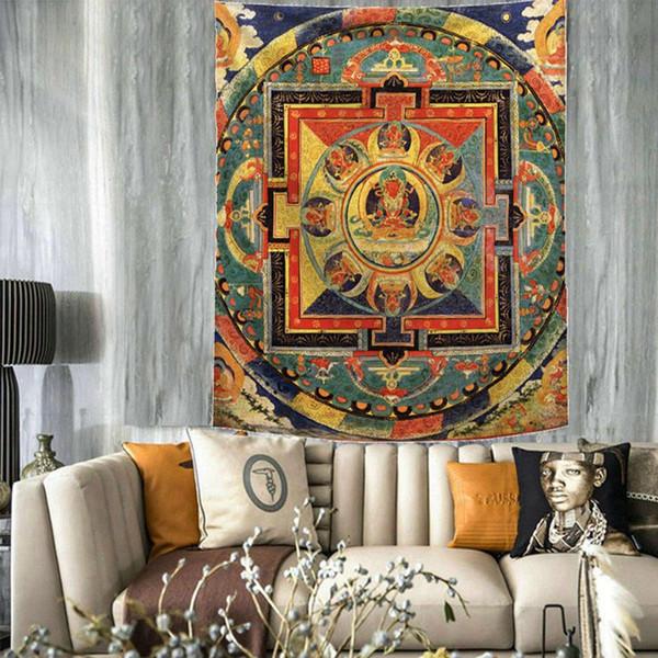 retro moroccan tapestry decorative mandala wall hanging blanket indian decor boho bohemian tenture mural