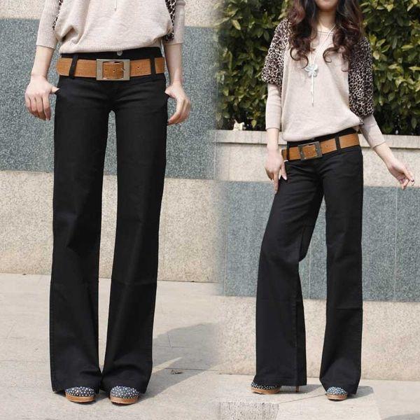 2019 Primavera e autunno nuovi jeans diritti delle donne pantaloni casual grandi cantieri pantaloni gamba larga pantaloni moda donna A313 Y190430