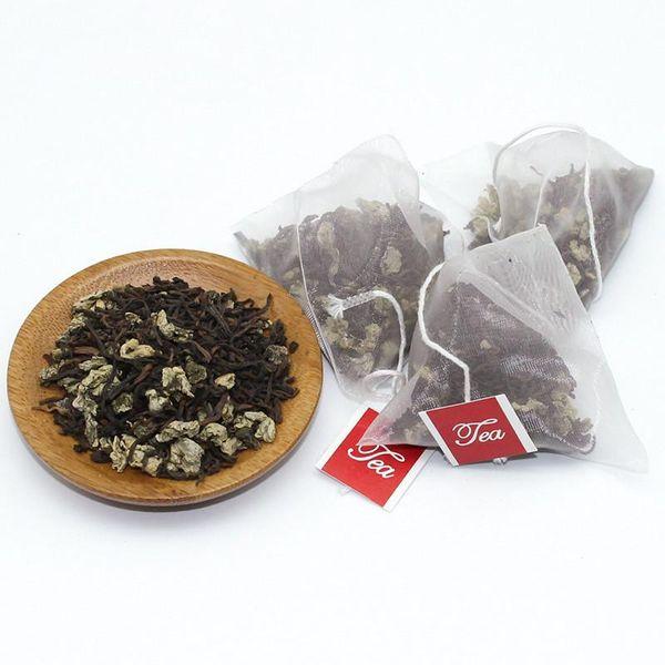 5000 stücke Leere Dreieck Teebeutel mit Label Heal Seal Nylon Filter Kraut Lose Tee-ei Sieb