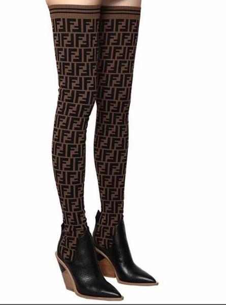 2018 Fashion F Design LeatherKnitting Mujeres elásticas Botas sobre la rodilla Primavera / otoño Patchwork Planos colores mezclados Chunky Heel Zapatos casuales Mujeres
