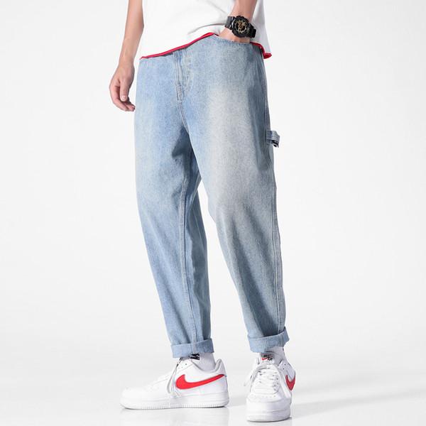 Jeans Uomo 2019 Jeans casual a taglio dritto Pantaloni jeans blu chiaro Cowboys classici strappati per uomo Loose Vaqueros Hombre Solid