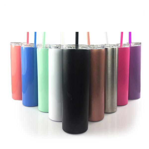 20 Unzen Edelstahl Skinny Tumbler Vakuumisolierte Kaffeetassen Weingläser Mit Deckel Farbige Strohhalme A03