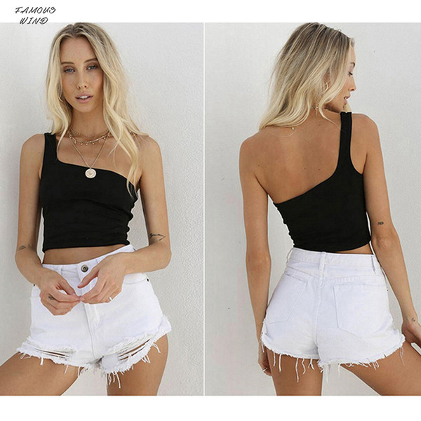 Women Tops Summer Cami Cropped One Shoulder Sashes Chest Wrapped Short Vest Sexy Nightclub Ladies Female Camisole Tops For Women