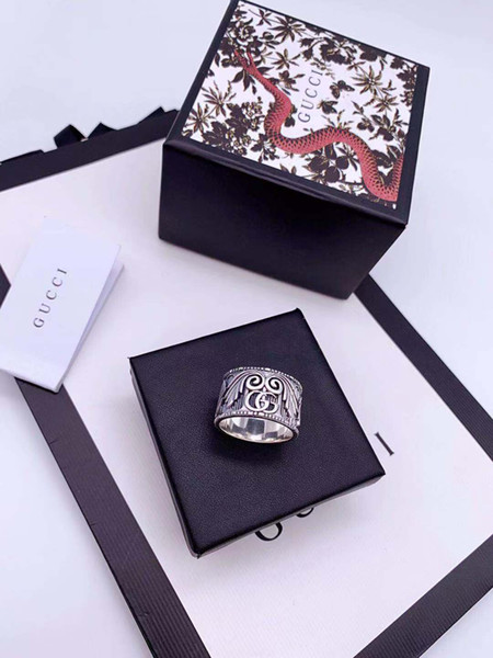 top popular New Personality Silver 925 Ring Popular G Alloy Luxury Letter Couple Ring Fashion Jewelry Brand Supply Wholesale 2019