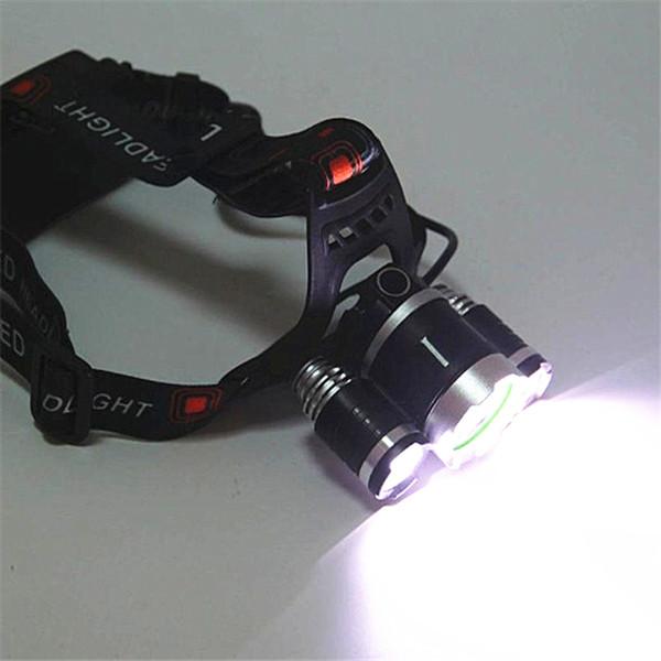3x CREE XM-L T6 LED Headlamp Headlight Flashlight 5000 Lumens Head Lamp + AC charger + car charger + 2pcs 18650 battery Free Shipping RHL001