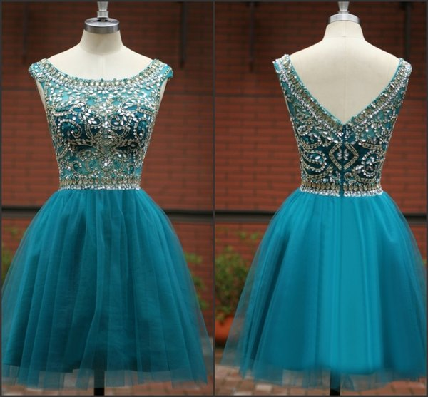 Fashion High Quality Crystal Evening Dresses Beaded Scoop Neckline Tulle Short Homecoming Dresses A-Line Backless Sexy Prom Party Gowns