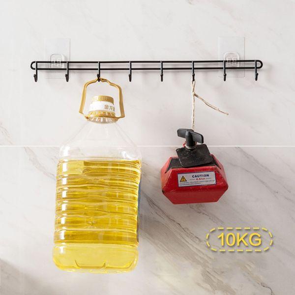 wholesale Bathroom Kitchen Tools Organizer 8 Hooks Towels Key Holder Cupboard Wardrobe Clothes Storage Rack
