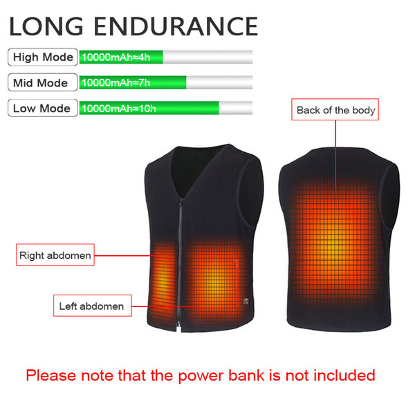 USB Vest Heated Jacket Waistcoat Self Heating Clothing for hunting outdoor Men's Clothes Black S-XXL