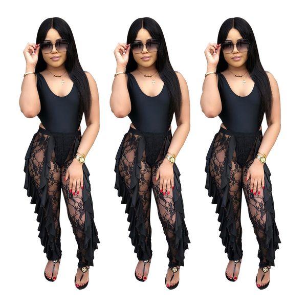 2019 Yaz Kadın Pantolon Uzun Perspektif Siyah Tasarımcı Sıska Pantolon Bayan Giyim için Sıkı dar Pantolon Seksi Dantel Kapriler S-XL