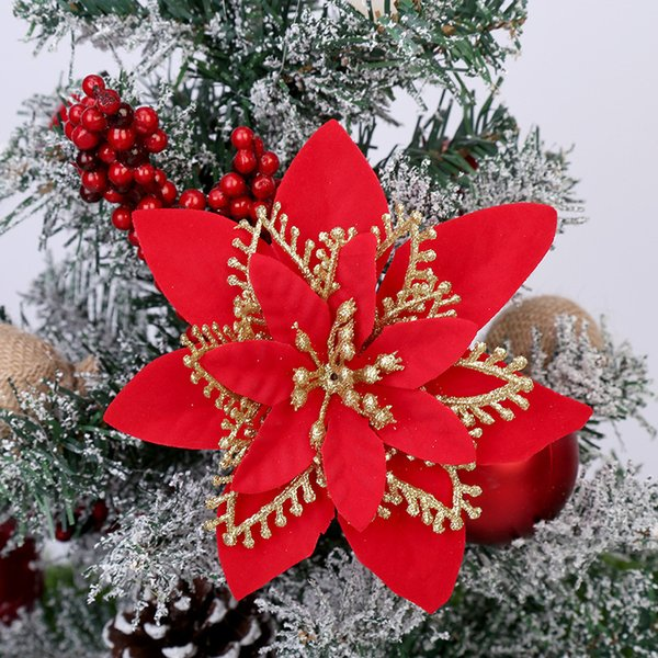 5pcs 13cm Christmas Decorations Flower Artificial Flowers Glitter Poinsettia Fake Flowers DIY Home Wedding Xmas Tree Decoration