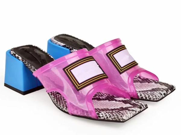 Transparente Damen-Sandalen mit mittlerem Absatz, Pantoletten mit hohem Absatz, PVC-Obermaterial mit einer Einlegesohle mit Animal-Print aus Python, hergestellt in Italien, 6 cm / 8 cm
