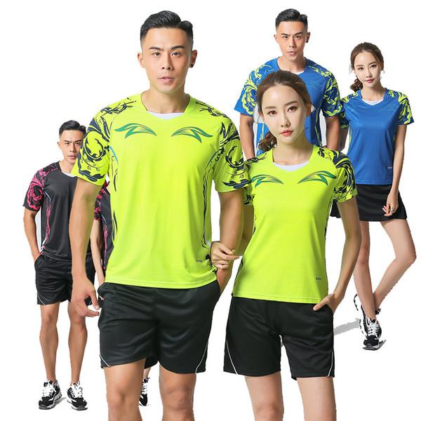 Neue 2018 T-Shirts für Herren / Damen, Badmintonbekleidung Uniformen, Sport Tennis Trainingsanzug Jersey Badminton Frauen Trainingsset