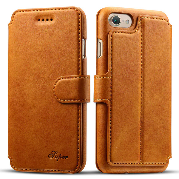 Creative iPhone 8 mobile phone case 6S flip-over protective leather jacket Samsung S8 card support calf-print 7P Wallet