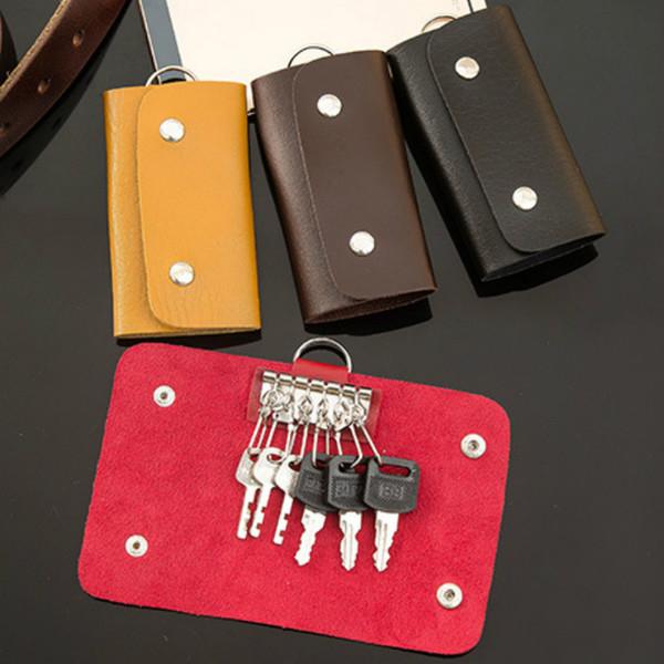 2019 Pu Leather Car Keys Bag Key Wallet Card Holder Cute Business Organizer Housekeeper Case Keychain Purses Men Women Pocket