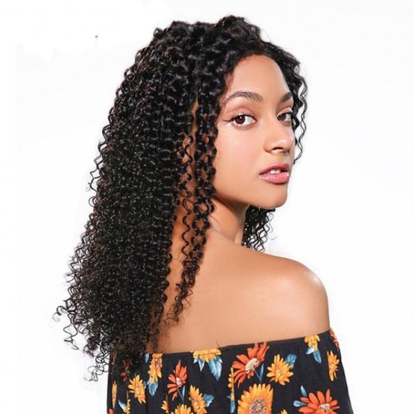 peruvian virgin hair lace front wigs pre plucked hairline kinky curly full lace human hair wig 6-26 inch ping