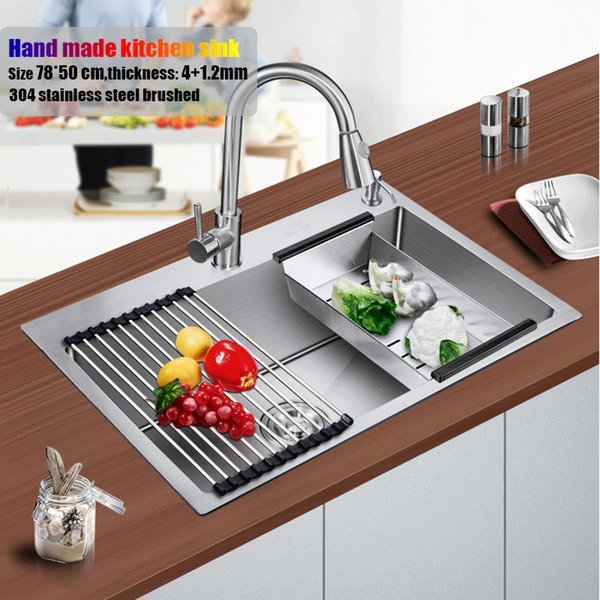 top popular 78*50 cm large stainless steel kitchen sink brushed thickening hand made single bowl water tank accessories complete 2021