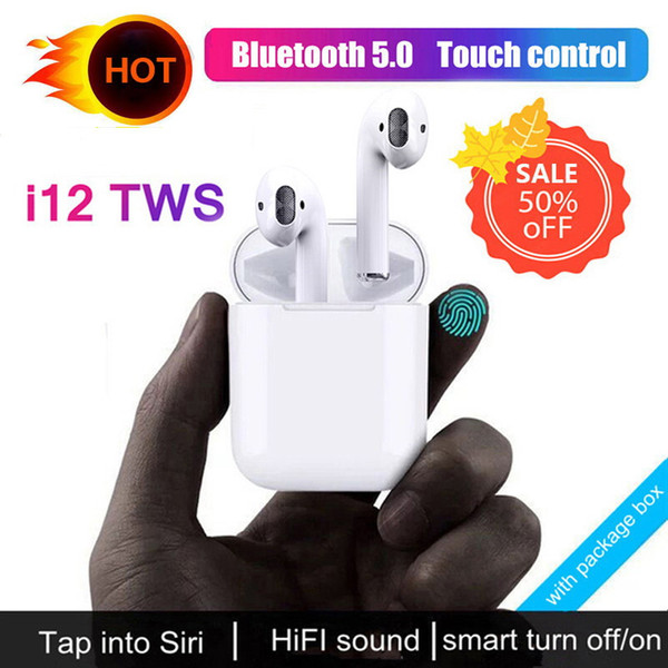 2020 NEW I12 TWS Bluetooth Earphone Wireless Earphones Touch Control Headset 3D Stereo Earbuds Charging Case I 12 I10 Tws