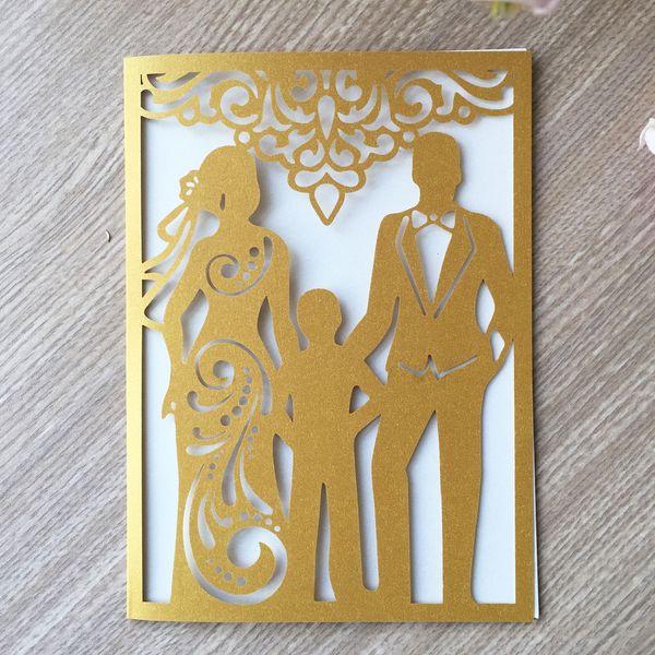 Hollow Laser Cut Colour Pearl Paper Wedding Invitation Card House