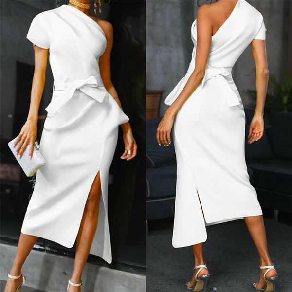 Womens Bodycon One Shoulder Dress Ladies Party Evening Midi Dresses robe femme robe longuebandage dress vestidos