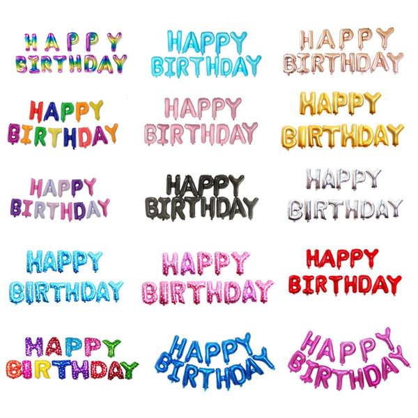 Acheter 16 Pouce Lettres Bon Anniversaire Feuille Ballons Joyeux Anniversaire Fête Décoration Enfants Alphabet Ballons à Air Bébé Fournitures De