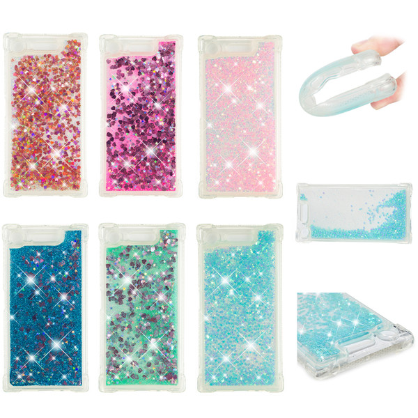 Soft Fashion Love Heart Quicksand Liquid Glitter Silicone Phone Case for Sony XA1 Sony XZ2 Air Cushion Corner Shockproof 05