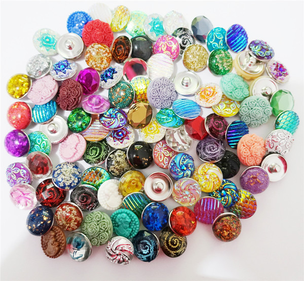 Assorted Plastic Resin Flowers Round Metal Ginger 18mm Snap Buttons For Bracelet Noosa Chunks Jewelry Findings