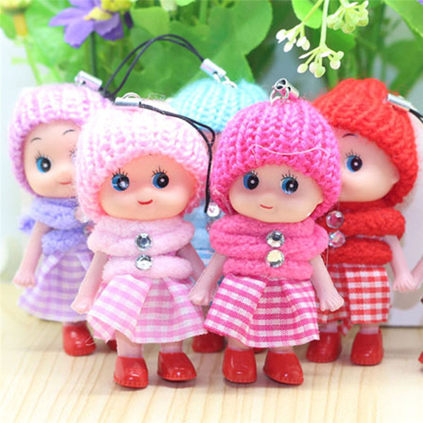 best selling Mini Plaid Skirt Doll Keychain Toy Soft Interactive Baby Plush Dolls 8cm Keychain Girl Cute Mobile Phone Pendant