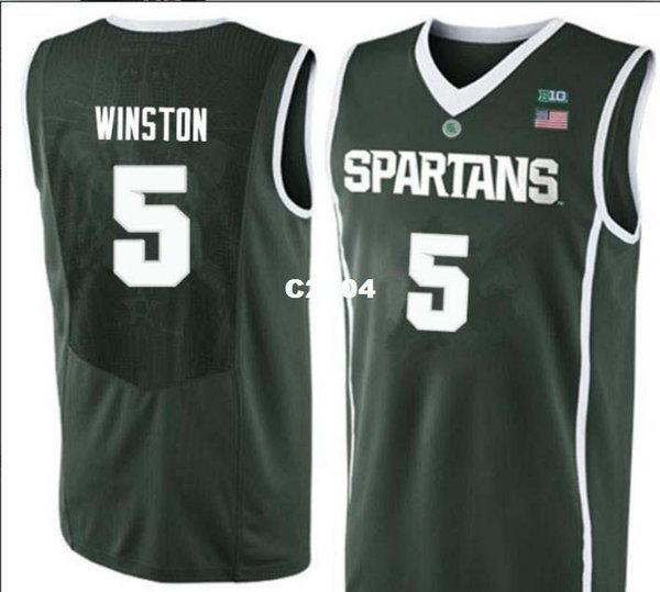 Homens Michigan estado espartanos Cassius Winston # 5 faculdade Real bordados jersey tamanho S-4XL ou personalizado qualquer nome ou número jersey