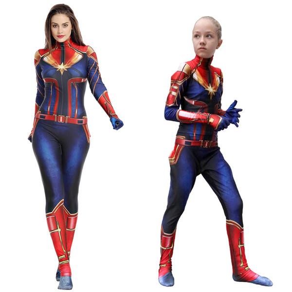 Costumes Cosplay Captain Marvel pour enfants adultes Superhero Vêtements pour les filles Une Partie Piece Costume Vêtements pour enfants