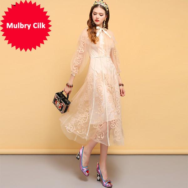 Новое летнее платье дизайнера женской бабочки с цветочным узором вышивки сетки наложение элегантные винтажные платья партии
