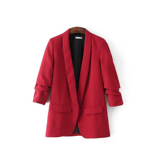 5 Colors 2018 Women Red Blazer for Office Ladies OL-style Elegant Classic Feminino Pink Coat Female Black Work-wear Suit Tops #409097