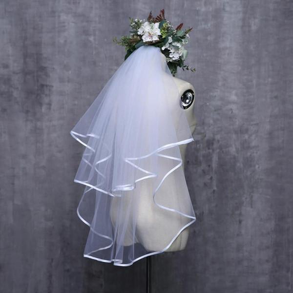 2019 Kadınlar Düğün Peçe Iki Katmanlar 2 T Tül Şerit Kenar Gelin Veils Kısa Peçe Düğün Aksesuarları Için Kaliteli