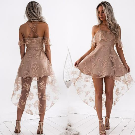 Spring and summer European and American ladies new fashion dress sexy lace strap evening dress tide