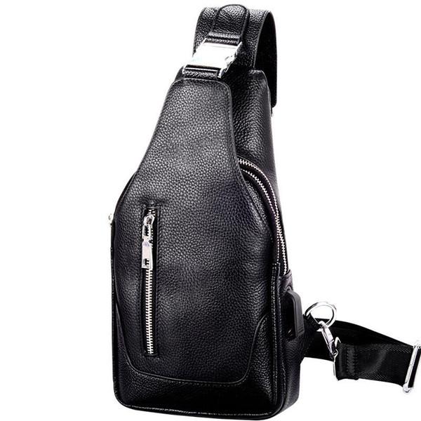 New men's bag Korean version of chest bag leather cross backpack single shoulder bag
