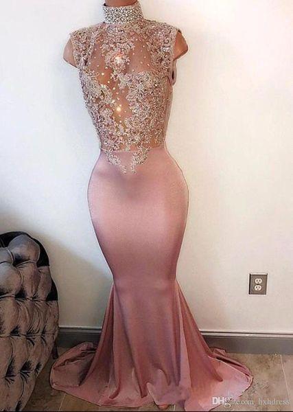 2019 Yeni Seksi Mermaid Pembe Gelinlik Modelleri Uzun Yüksek Boyun İnciler Kolsuz Dantel-Aplikler Kristal Boncuklu 2K17 Balo Abiye Abiye Parti Elbise