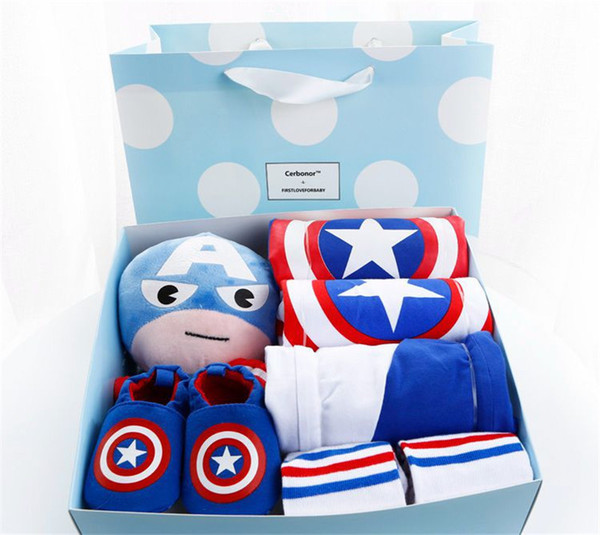 8 Pcs Newborn Baby Clothes Gift Set Cartoon Captain America Romper Sock Toy Hat Set Baby Boy Shower Birthday Registor Present Welcome Gifts
