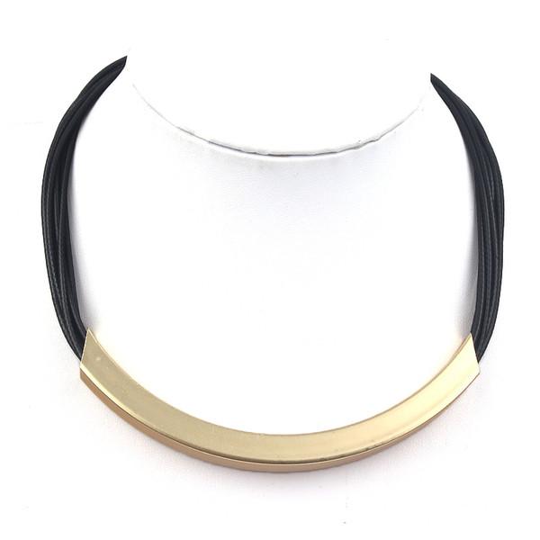 2017 cadeaux de Nouvel An Livraison Gratuite Pendentifs Ras Du Cou En Cuir Noir Chaîne Déclaration Colliers Bijoux Dames cadeaux N0001