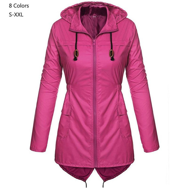2019 Spring Autumn Women hooded waterproof Coat Medium Long Casual zipper Coat Female Trench raincoat Fashion lady outerwear