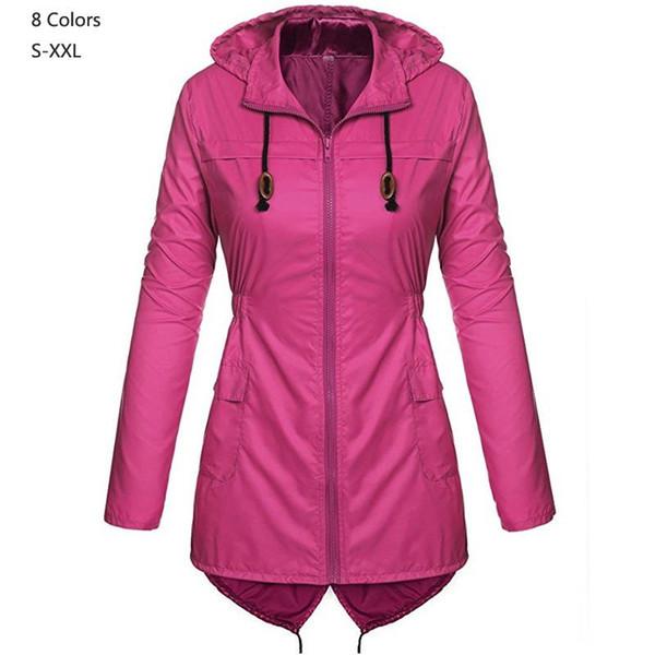 2019 İlkbahar Sonbahar Kadın kapüşonlu su geçirmez Ceket Orta Uzun Rahat fermuar Ceket Kadın Siper yağmurluk Moda bayan giyim