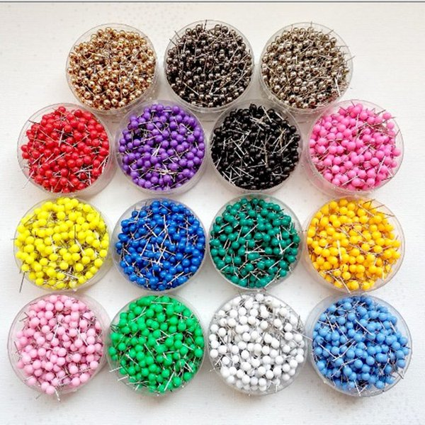 best selling 1  8 Inch Small Map Push Pins Map Tacks, Plastic Head with Steel Point, 100 pcs set, 14 colors for option
