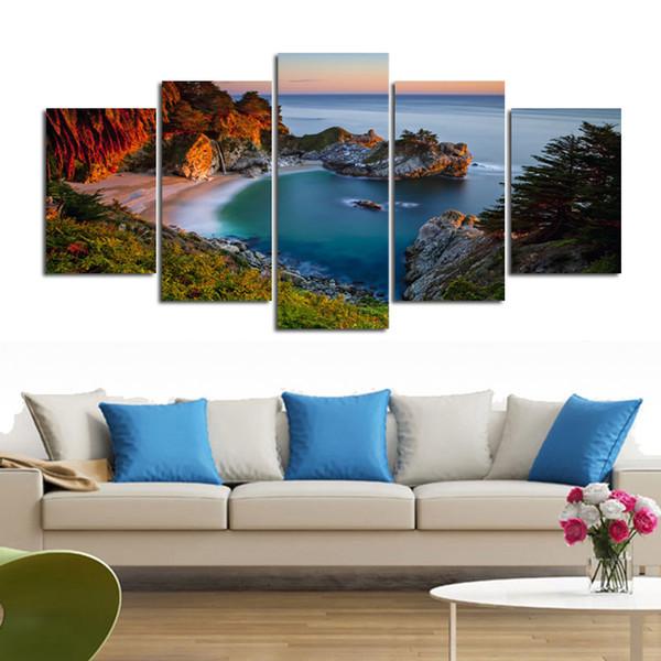 5 Panel con vista al mar, piedra, pinturas impresas, lienzo abstracto, pintura decorada para sala de estar, sin marco