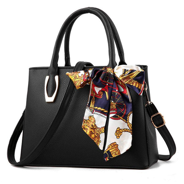 Female with Silk Scarf Fashion Pu Leather Litchi Portable Big Shoulder Bag Mother's Gift