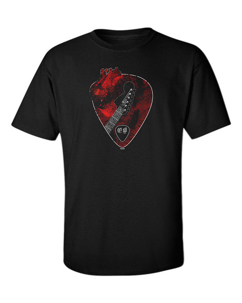 Guitar Player T-shirt Men's Love Heart Music Musician Guitarist Rock Metal Goth T-shirt Short Sleeve Fashion T Shirt