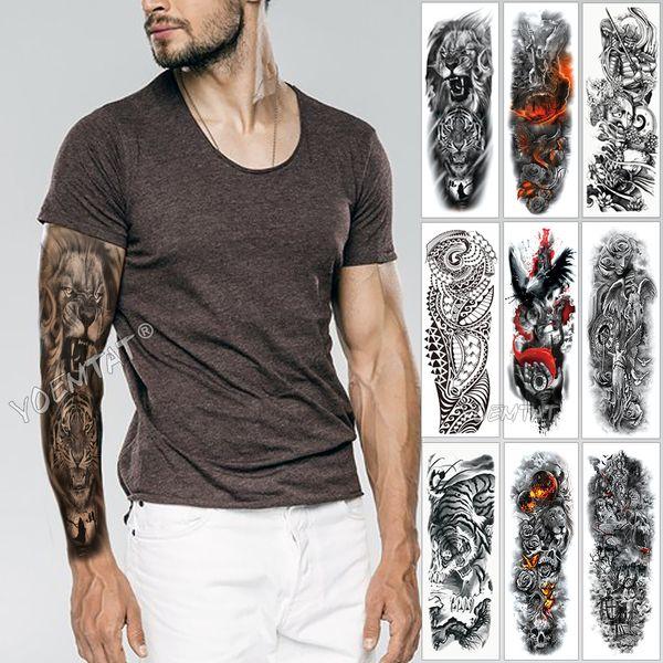 Tatuaggio manica grande braccio schizzo Tigre leone impermeabile autoadesivo del tatuaggio temporaneo selvaggio feroce animale uomini completo uccello totem tatuaggio